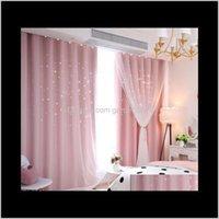 Estrela aberta terminada princesa vento crianças crianças cortina quarto sala de estar blackout panos qjlgi zrt0k