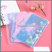 Packing Office School Business & Industriala6 Pvc Notebook Pocket With Holes Glitter Plastic Binder Inserts Pockets 6 Ring Loose Leaf Bags F