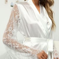Women's Sleepwear Oeak Sexy Women Lace Robe V Neck Belted White Elegant Satin Gown Bathrobe Home Pajamas Autumn