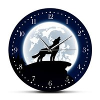 Howling Wolf With Moon Decorative Wall Clock Wilderness Art Wildlife Animal Home Decor Grey Man Cave Watch Clocks