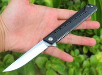 High Quality Flipper Folding Knife 8Cr14Mov Satin Drop Point Blade Black G10 + Stainless Steel Handle Ball Bearing Fast-opening EDC Pocket Knives
