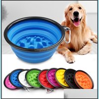 Bowls Feeders Supplies Home & Gardentravel Collapsible Dog Cat Feeding Pet Water Dish Feeder Foldable Choke With Hook Slow Food Bowl Drop De