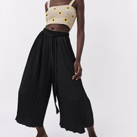 2021 ZA Yaz Yeni Rahat Streç Ayak Bileği Pileli Pantolon Yüksek Bel Pantolon Kadınlar Için Geniş Bacak Pantolon 4387066 4387/066