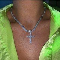 Barlaycs 2021 New Fashion Glitter Sexy Party Diamond AAA Zircon CZ Stone Tennis Girl Cross Pendant Necklace Chain for WomenMVEZ