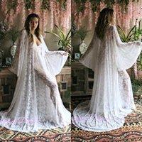 Wraps Giacche Due pezzi Bianco Ricamato in pizzo Bridal Robe Blinerie V Neck Sleepwear Sleepwear Prom Party Kimono1