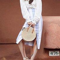 Evening Bags Round Hand-woven Straw Bag Shoulder Handbag Woman Girl Messenger
