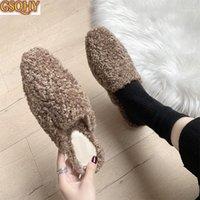 النعال الشتاء المرأة الدافئة المرأة حذاء داخلي حليقة الفراء الشرائح السيدات فليب يتخبط الشقق الراحة lambswool كسول 20211