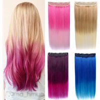 Perucas sintéticas Jeedou Long Straight Clipe em um pedaço de cabelo cor-de-rosa cor-de-rosa castanho azul Ombre cor de cabelo mulheres