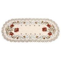 * Nappe ovale brodée rétro 85cm, utilisée pour le banquet de mariage, décoration de la famille d'événements, tissu de couverture de table