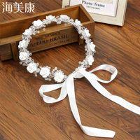 Haimeikang Crystal White Wedding Hair Accessories Bridal Headpieces Princess Crown Festival Ribbon Adjustable Girl Flower Crown 210329