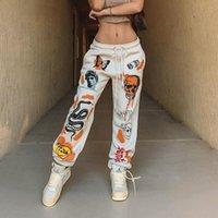 Women's Pants & Capris Women Sweat Pant Harajuku Cartoon Printed Trousers Jogger 2021 Drawstring Cargo Streetwear Casual Sweatpant Autumn