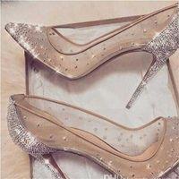 2020 nouveau printemps été styles élégant styles femmes chaussures strass talons hauts cristaux pointus orteils pompes femmes femme rouge semelle chaussures de mariage