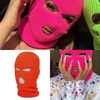 BalaClava Пользовательские дизайнер вязаные 3 отверстия вышивка лыжная маска для лыжи лица розовая неоновая шляпа dq0w