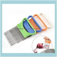 Fruit Kitchen Tools Kitchen, Dining Bar Home & Gardenonion Holder Stainless Steel +Plastic Slicer Tomato Cutter Metal Needle Gadgets Meat Fo