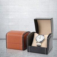 Bekijk dozen gevallen 1 slot luxe mode vrouwen mannen thuis zwarte kleur pu lederen doos mini-stijl case houder Goede geschenk WT-69
