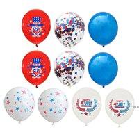 US Indépendance Day Décoration Ballons 10pcs / Lot Fête de fond Combinaison de fond Sequined Balloon Wedding Holiday Fournitures 12 pouces HWF6061