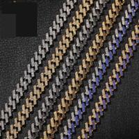15MM الجليد أزياء كوبا بروش رابط متعدد الألوان قلادة الأزرق / أسود أحمر الماس الهبي الرجال مجوهرات Q0617