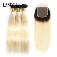 9A OMBRE 1B / 613 # Bleiche blonde Spitzenverschlüsse mit 3 Bündeln Brasilianische Gerade Jungfrau Menschliche Gewebe Peruanische malaysische Haarverlängerungen