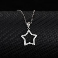 S925 Sterling Silver Five Pointed Star Necklace with Diamond, Simple, Fashionable and Lovely Shaped Jewelry Pendant