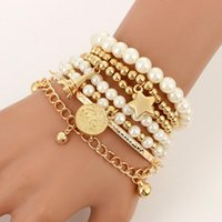 Earrings & Necklace 6pcs set Fashion Gold Color Beads Pearl Star Multilayer Beaded Bracelets Set For Women Charm Party Jewelry Gift 2021