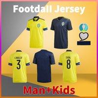 Suecia Hogar alejado Jersey de fútbol 20 21 Ibrahimovic Lindelof Milosevic Larsson Berg Kulusevski Forsberg Camisa de fútbol hombres Tshirts + Kit Kit Uniforme