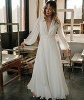 Chiffon Beach Wedding Dresses Deep Sexy V Neck Long Sleeve Bridal Gowns Ribbon Sash Pleats Floor Length A Line Vestido de Nova 2022 Boho Elegant