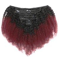Clip in capelli umani peruviani Afro Kinky clip ricci sulle estensioni per le donne 8 pezzi 120g / set ombre colore T1b 99J