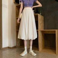 Skirts Summer 2021 High Waist Slim A-line Skirt Wild Mid-length Drape White Half-length