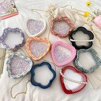 Weaver femmina fai da te sacchetto di iauna Trend Mano Nuovo Catena coreana Catena di moda Materiale di moda intrecciato Satchel perla trasparente perla trasparente BSHRN