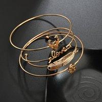 Braceletes Europeias Transfronteiriços Moda Folhas Simples Deer Cabeça Cabeça Amor Snowflake Pulseira 4 conjuntos de jóias de comércio exterior