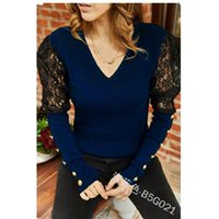 Women's Blouses & Shirts Wepbel Patchwork Loose Sexy Ladies Solid Color V-neck Lace Plus Size Pullover Long Sleeve Slim-Fit Top Blouse