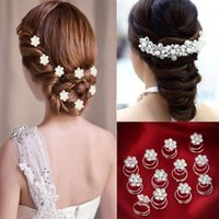 Fashion Headdress Hair Accessories Wedding Bridal Pins Twists Spiral Coils Clips For Women Flower Crystal Hairpins1