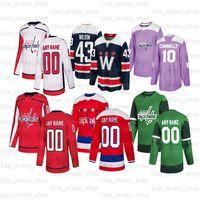 Özel Washington Capitals Hokey Formaları 8 Alex Ovechkin 19 Nicklas Backstrom 74 Carlson 77 TJ Oshie 43 Tom Wilson