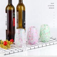 301-400 ml Renkli Silikon Şarap Kupası Antiskid Bırak Yüksek Dereceli Kırmızı Şarap Cam Su Şişesi Açık Kamp Bira Kupası Viski Drinkware JJA53