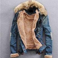 Hombres Jean Piel Collar Denim Chaqueta Abrigo Outwear Productos de invierno
