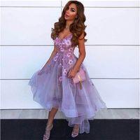 2021 Lavender 3D Цветочные коктейльные платья высокого низкого V шеи кружева аппликация Vestidos de Gala Tulle Homecoming платья AbendkLeider