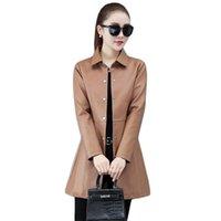 Women's Leather & Faux Jacket Women Caramel M-4XL Plus Size 2021 Autumn Winter Fashion Slim High Quality Long Coat Feminina LD1420