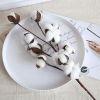 Naturally Dried Cotton Stems Farmhouse Artificial Flower Filler Floral Decor Fake Flowers DIY Garland Home Wedding Supplies OOD6283