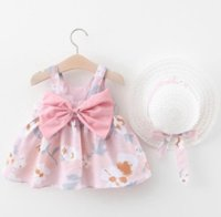 Baby Girls Clothes Flower Daisy Printed Dress Sleeveless Bows Infant Princess Skirt Toddler Designer Clothes Baby Clothing 5 Colors