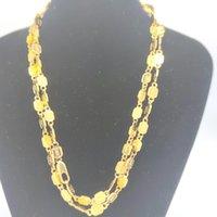 """Moda DIY Sello Chains Jewelry 24k Amarillo Sólido Fino Collares de oro Colgantes Caja libre 27 pulgadas 35 """"35"""" al por mayor"""