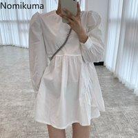 Nomikuma Korean Causal Women Doll Dress Puff Long Sleeve O-neck Sweet Dresses Spring New Ruffle A-line Mini Vestidos 6E364 210427