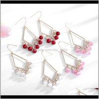 & Bracelet Sets Jewelry High Quality Women Fashion Pearls Tassel Earrings Long Lozenge Ear Hook Brand Design Wedding Party Pierce Earring Dr