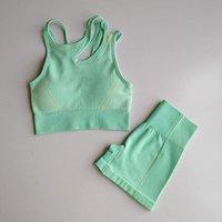Yoga Outfits Seamless Shorts Set Gym Sports Bra Women High Waist Sport Fitness Pants Exercise Sets