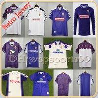 1998 1999 Retro Fiorentina Futbol Formaları 9 Batistuta 10 Rui Kosta Özel Vintage 98 99 Ev Futbol Gömlek 2000 Camisas de Futebol