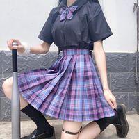 Skirts Women Japanese Harajuku Mujer Faldas Sexy Kawaii High Waist Cute Korean Kpop Pleated Skirt Cosplay Gothic Saia Jupe Femme