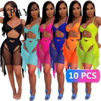 Women's Swimwear Bulk Items Wholesale Lots Two-piece Suit Bikini Hollow Out Summer Sexy Mesh Beach X6314
