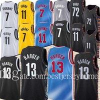 Homens Kevin # 7 Durant Brooklyns # 13 Harden Jersey Kyrie 11 Basquete Irving Jersey Black 2021 Cidade Azul Uniforme Nova temporada Jesiays