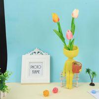 Vases Nordic стиль смола ваза милые крошечные люди цветочный горшок мини гуманоидный вазон столовый столик для посадки офис украшения дома