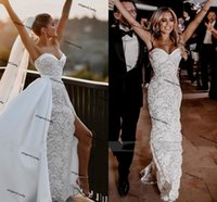 Sweetheart Mermaid Wedding Dresses with Detachable Train 2021 Lace Stain Sexy Slit Country Beach Outdoor Bride Dress robes de mariage