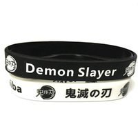Charm Bracelets Anime Demon Slayer: Kimetsu No Yaiba Sport Wristband Male Rubber Silicone Men Jewelry Friends Party Gift